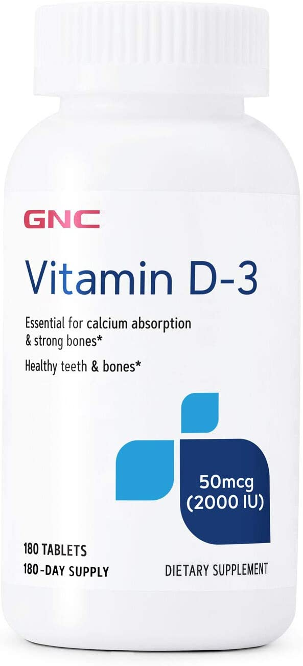 GNC Vitamin D-3 50mcg 180 Tablets Supports Max 51% OFF San Diego Mall Healthy and Bones T