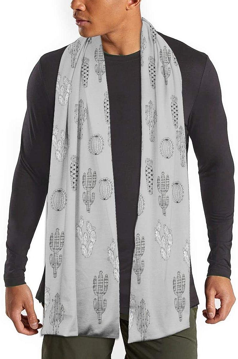 Winter Scarf Shawl Wraps Soft Warm Scarves for Women Men(Black And White Cactus Grey)