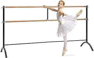Klarfit Barre Marie Black Edition - Barra de Ballet Doble, 220 x 113 cm, Diámetro 38 mm, Material Acero con Aspecto de Madera, Ideal Entrenamiento de Ballet y de Danza o Realizar estiramientos, Negro