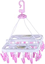 RJ Rojeno Plastic Cloth Drying Stand Hanger with 28 Clips/pegs, Baby Clothes Hanger Stand, Multicolor, Set of 1
