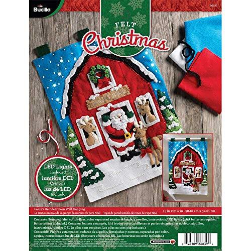 Bucilla Felt Wall Hanging Applique Kit 15'X21.5'-Santa's Reindeer Barn