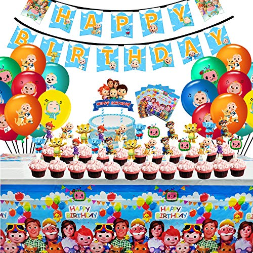 Cocomelon Birthday Party Supplies Set, Cocomelon Party Decoration Include Banner, Napkins, Tablecover, Cake Topper, Cupcake Toppers and Balloons for Kids Birthday Theme Party Decoration Baby Shower School Party Daily Favor Set