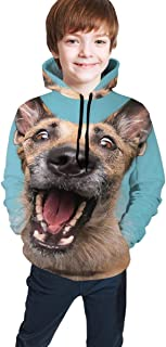 Cyloten Kid's Sweatshirt Cute Dog Yawns in Blue Hoodie Teen's Thicken Sportswear Fleece Hood for Fall-Winter