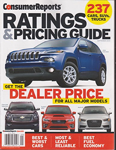 Consumer Reports Ratings & Pricing Guide Magazine September 2014