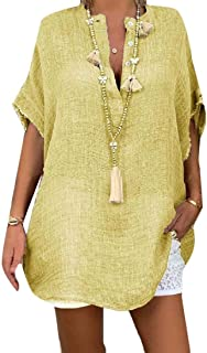 SHOWNO Women's Cutoff Irregular Casual Solid Plus Size Short Sleeve Mid Length Shirt Blouse Top