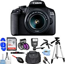 Canon EOS 2000D / Rebel T7 with EF-S 18-55mm III Lens Pro Bundle with 32GB SD, Flash, Filter Kit Tripods, Gadget Bag and More [International Version]