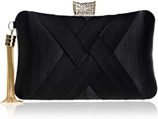 Runhuayou Women's Imitation Silk Tassel Eve Bag/Banquet Bag Ladies Banquet Dress Hand Even Clutch Bag Black/Green/Red/Silver Great for Casual or Many Other Occasions Such (Color : Black)