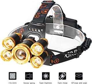 Ultra Bright CREE LED Headlamp, 4 Modes Super Bright 12000 Lumen 5 LED Headlamp with Rechargeable Batteries, Car Charger, Wall Charger and USB Cable Great For Running, Camping, Hiking & More (gold)