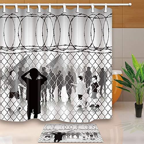 mintlmk kinderen achter ketting Link hek en prikkeldraad in vluchtelingenkamp 71X71in polyester stof douchegordijn pak met 15.7x23.6in flanel anti-slip vloer deurmat bad tapijten