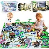 Pickwoo Dinosaurier Spielzeug Set Dinosaurier Figur & Prähistorische Welt Spielmatte & Bäume, Realistische Dinosaurier ,Jurassic World Dinosaurier Spielzeug Groß für Kinder Jungen Mädchen