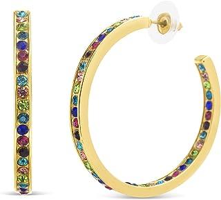 Steve Madden Rainbow Rhinestone Inside Out Hoop Earrings for Women