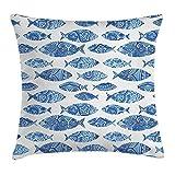 Funda de cojín para decoración de animales del océano, figuras de peces con mosaico antiguo otomano adornado a mano...