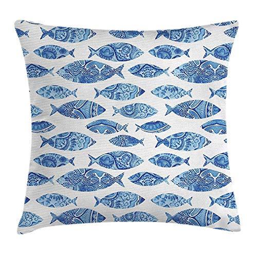 Funda de cojín con diseño de animales oceánicos, figuras de peces con mosaicos otomanos ornamentados dibujados a mano, obra de arte marina decorativa, cuadrada, 45,7 x 45,7 cm, color azul