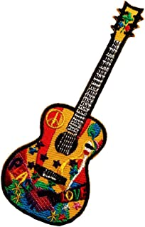 Peace Guitar Hippie Guitar Music Lovers Patch '' 5 x 12,8 cm '' - Embroidered Iron On Patches Sew On Patches Embroidery Ap...