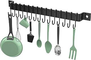 Housolution Support de Rangement Cuisine avec 15 Crochets de Suspension en Métal, 33 Pouces Organisateur Suspendu Mural po...