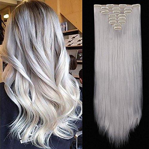 TESS Haarteil Clip in Extensions wie Echthaar Kunsthaar günstig 8 Tressen 18 Clips Haarverlängerung Glatt 26