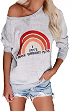Womens Off The Shoulder Sweatshirts Crewneck Long Sleeve Rainbow Workout Graphic Tees Pullovers