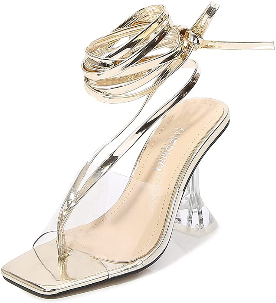 Women's Transparent PVC Heeled Mule Sandals Strappy Ankle Denver Mall service Clear