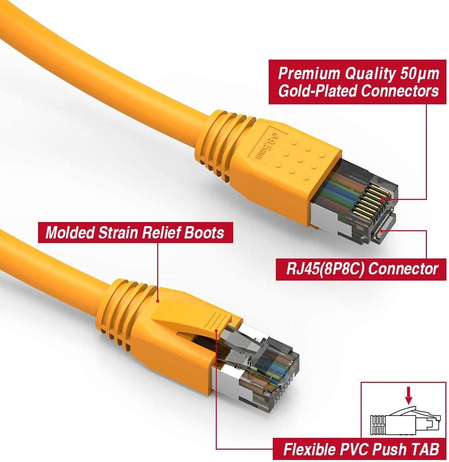 4-Pack - 2 Feet GOWOS Cat8 SFTP Ethernet Cable 24AWG Network Cable with Gold Plated RJ45 Snagless//Molded//Booted Connector 2000MHz Purple 40 Gigabit//Sec High Speed LAN Internet//Patch Cable