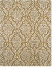 York Wallcoverings ET2055SMP Enchantment Damascus Wallpaper Memo Sample, 8-Inch x 10-Inch, Muted Tobacco Brown, Silver Leaf