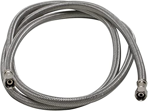 "Fluidmaster 12IM72 Ice Maker Connector, Braided Steel-1/4 x 1/4"" Compression Thread, 6 Ft. (72"") Length, 6-Foot, Stai..."