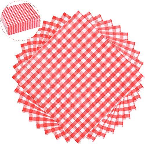 100 Hojas de Servilletas de Papel a Cuadros Desechables de 12,9 x 12,9 Pulgadas Servilletas de Rojo y Blanco para Cena Familiar, Picnic, Barbacoa, Fiesta de Cumpleaños