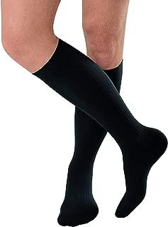 JOBST forMen Ambition Knee High 15-20 mmHg Ribbed Dress Compression Socks, Closed Toe, 4 Regular, Black
