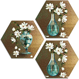 ARTAMORI ® White Lotus Flower Art 3 Piece Hexagon MDF Painting