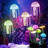 KBNIAN 4 pcs Medusa Pecera + 1 pcs Hongos Artificiales Medusas Artificiales de Silicona Peceras Adornadas Planta Artificial de Acuario Medusas Flotantes y Hongos Luminosos para Decorar Pecera Acuario