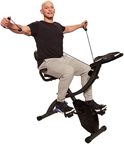 Original As Seen On TV Slim Cycle Stationary Bike - Folding Indoor Exercise Bike with Arm Resistance Bands and Heart ...