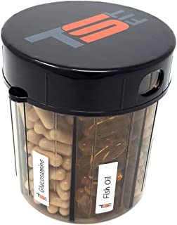 Monster Supplement, Medication and Pill Dispenser with Compartment Labels - Extra Large Pill Container Handles Almost Any Supplement - Labels Included So You Know Which Supplement You Are Taking