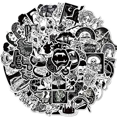 SHUYE Funda de teléfono gótica en Blanco y Negro, monopatín, Equipaje, Impermeable, Pegatina para Ordenador portátil, decoración de Graffiti, Juguete 50 Uds