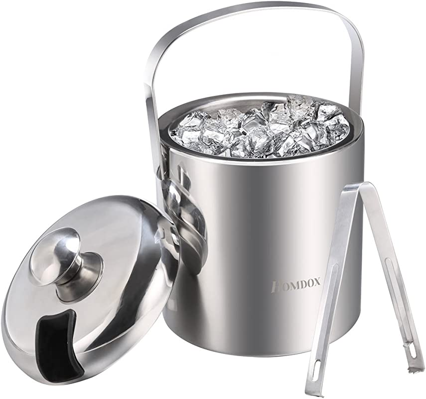 Homdox Ice Bucket Stainless Steel Ice Buckets With Tongs Double Wall Insulated Ice Bucket Wine Ice Buckets For Paties And Bar Outdoor Camping Silver Ice Buckets With Lid