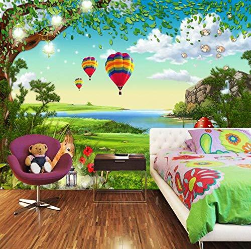 3D vliesbehang fotovlies premium fotobehang behang 3D-cartoon bos kinderkamer slaapkamer woonkamer achtergrond wandfoto wallpaper 200*140 200 x 140 cm.