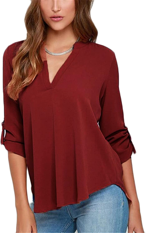 Andongnywell Women's Long Sleeve V Neck Chiffon Blouses Tops Pleated Button Down Business Shirts Loose Chiffon Shirt