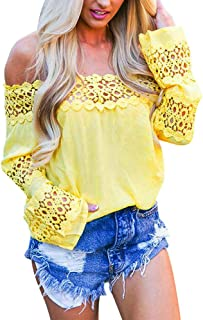 Qootent 2019 Women Off Shoulder Lace Shirt Long Sleeve Casual Blouse Top Blouse