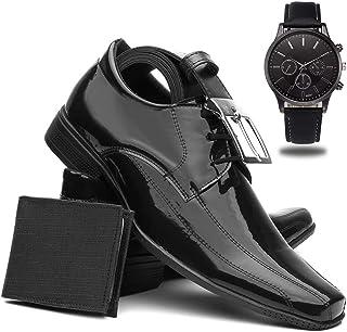 Sapato Social Masculino Verniz + Cinto + Carteira + Relógio