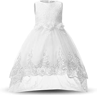 YLQ 光沢のあるスパンコールリトルガールズプリンセスページェントドレスハイローガウンダンスチュチュトレインフラワーガールズドレスキッズガールズノースリーブ刺繍レースイブニングパーティーウェディングドレス (パターン : 白, サイズ : 110)