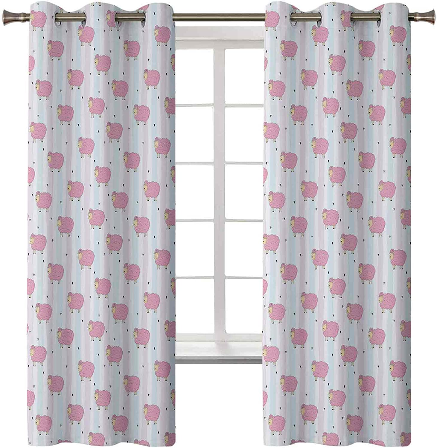 Nursery Thermal Insulated Luxury goods Fashionable Curtains Cartoon Abstract wi Sheep of