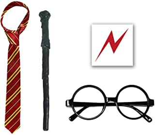 QXFQJT Novelty Glasses Striped Tie with Wizard Wand, Bolt Scar Tattoo, Cosplay Party Costumes Accessories Kid's Gift, 5PCS