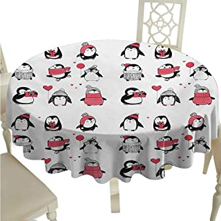 cashewii Winter Elegance Engineered Christmas Tablecloth Cute Penguins Hand Drawn Merry Christmas Greetings Babies Kids Toddler for Kitchen Dinning Tabletop Decoration D54 Dark Coral Black White