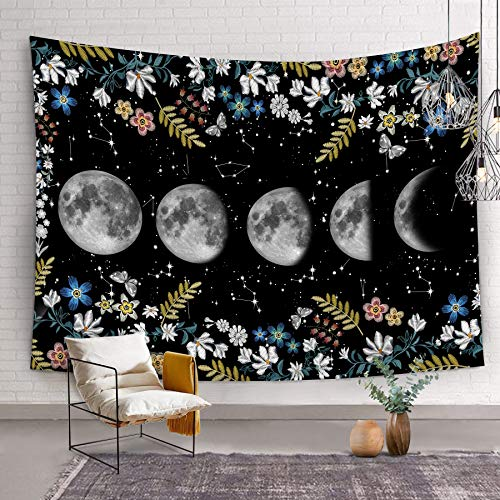 Bonsai Tree Moon Tapestry, Psychedelic Moon Phases Star Large Wall Tapestries for Womens, Constellation Space Florals Black and White Wall Hanging Art for Living Room Bedroom Home Decor, 59x83 Inches