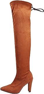 Stivali Donna Moda Casual Punta a Punta Scarpe con Tacco Quadrato Alto al Ginocchio