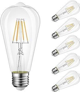 5 Pack LED Filament E27 Edison Screw Bulb, 4W ST64 Vintage Light Bulbs Energy Saving Bulb, Warm White 2700K, 450Lm, Non-Di...
