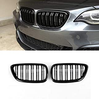 JMY Front Kidney Grille Grill Glossy Black Dual Double Line for BMW 2 Series F22 F23 220i 228i 230i M235i F87 M2 2014 2015 2016 2017 2018 (ABS)