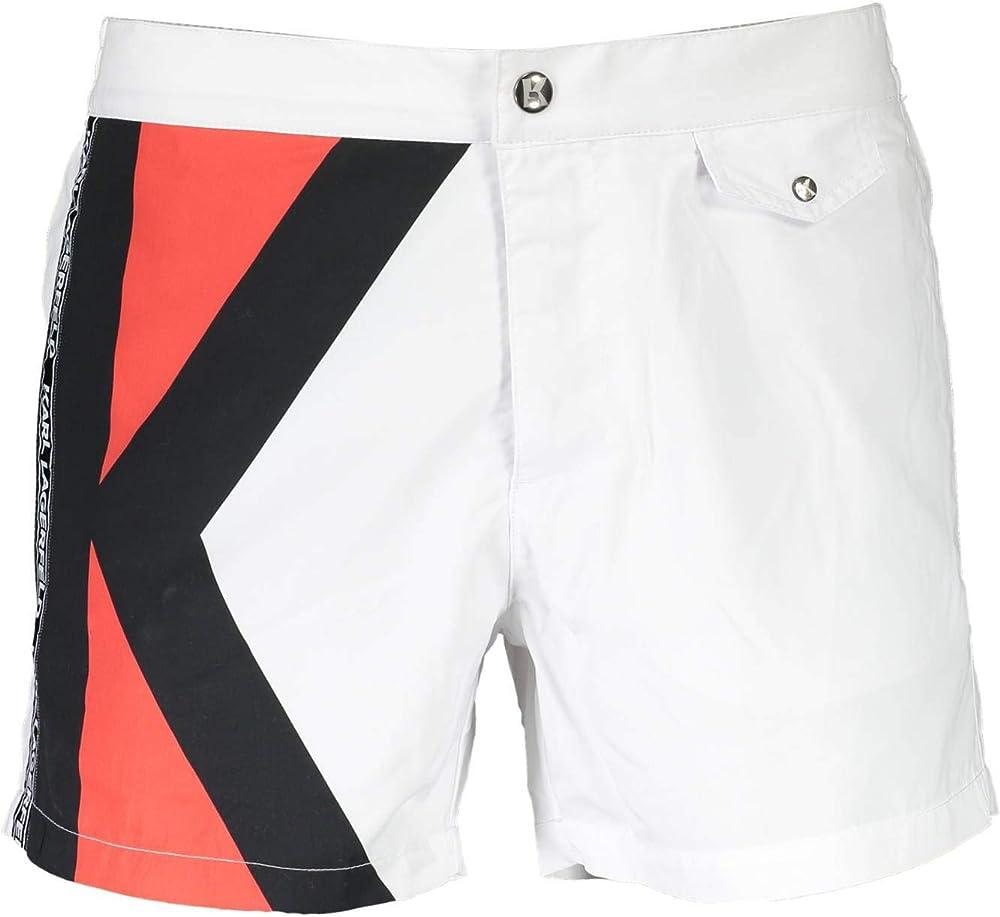 Karl lagerfeld beachwear,costume da bagno a pantaloncini per uomo,100% poliestere KL19MBS04-WHITE-M