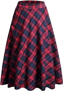Women's Plaid Skirt Elastic Waist A-line Midi Pleated Skirts
