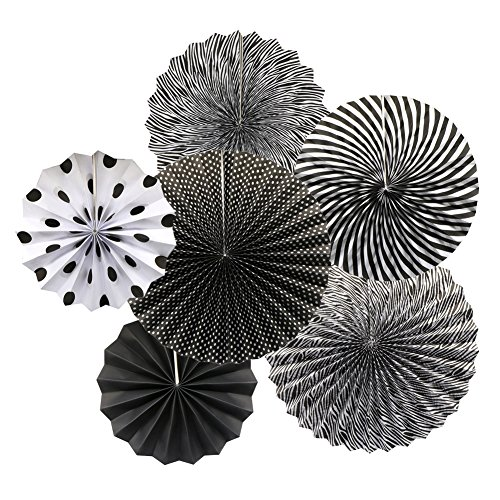ADLKGG Party Hanging Paper Fans Set, Black Round Pattern Paper Garlands Decoration for Birthday Wedding Graduation Events Accessories, Set of 6