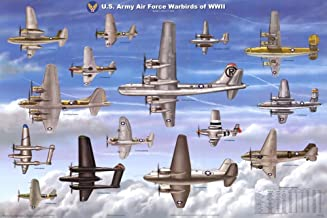 Laminated USAAF Warbirds WWII Airplane Military Chart Poster Laminated Poster 36 x 24in