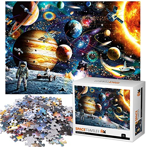 Klassische Puzzles 1000 Teile für Erwachsene Kinder, Jigsaw Puzzle Raumfahrer Planeten Themen Puzzlesets für Familien, Papppuzzles, Lernspiele, Brain Challenge Floor Table Puzzle für Jugendliche